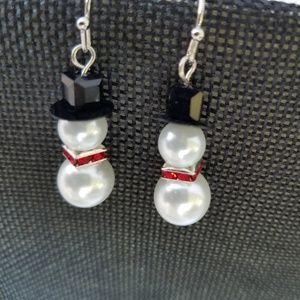 Pearl Snowman Earrings
